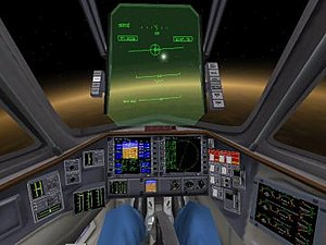 Orbiter (simulator) - The Delta Glider in low Venusian orbit, showing the 3D Virtual Cockpit, including Multi-functional displays (MFDs) and the Head-up Display (HUD)