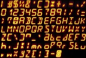 Fourteen-segment display - All Arabic numerals and letters of the ISO basic Latin alphabet on a 14-segment display