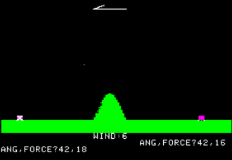Artillery game - Artillery Simulator for the Apple II was among the earliest graphical versions of the turn-based artillery video game.