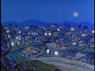 Bedrock (The Flintstones) - Bedrock at night, as seen in the closing credits of the first two seasons of The Flintstones.