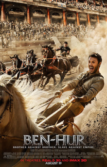 "Ben-Hur riding on a chariot with the slogan ""Brother Against Brother. Slave Against Empire."""