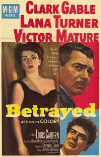 Betrayed (1954 film) - Promotional movie poster for the film