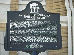 Circulo Cubano de Tampa - Informational sign in front of Cuban Club