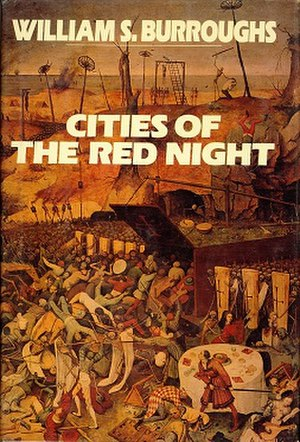Cities of the Red Night - Cover of the hardcover edition by Viking Press, depicting Pieter Brueghel the Elder's 1562 painting The Triumph of Death.