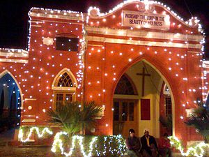Christian Medical College, Ludhiana - The College Chapel in the evening, with decorations for Christmas