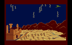 """Dragonriders of Pern (video game) - Action during a thread fight. The dragon is in the upper right corner of the screen in the frontmost of three """"depths."""" Thread is falling on two of these depths; the larger Threads (like those lower on the screen) at the front, and smaller Threads (examples at the top) in the middle depth."""