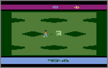 A horizontal rectangle video game screenshot that is a digital representation of a grass field with large holes. Two characters stand in the middle of the field.