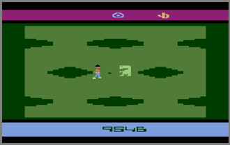 E.T. the Extra-Terrestrial (video game) - One of the screens in the game. E.T. meets Elliott in a field of wells. Reese's Pieces are scattered throughout the world and are represented by dark dots.