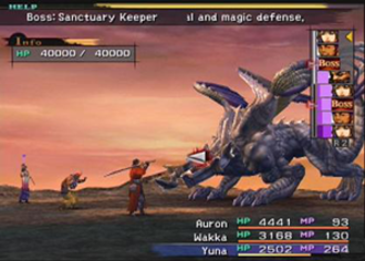 Final Fantasy X - A boss battle using a heads-up display to illustrate battle information