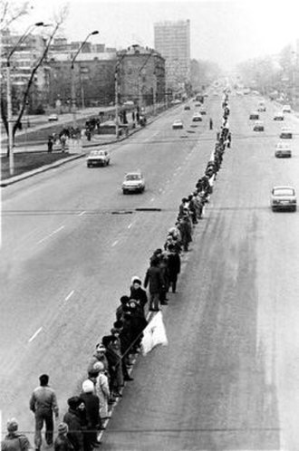 Act Zluky - Over 300,000 Ukrainians participated in the human chain on January 21, 1990.
