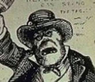 Plug Uglies -  A plug hat worn by a rowdy Irishman in a 19th century Thomas Nast stereotyped caricature similar to the ones worn by the Plug Uglies.