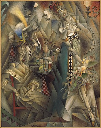"Jean Metzinger - Jean Metzinger, 1912, Danseuse au café (Dancer in a café), oil on canvas, 146.1 x 114.3 cm, Albright-Knox Art Gallery, Buffalo, New York. Published in Au Salon d'Automne ""Les Indépendants"" 1912, Exhibited at the 1912 Salon d'Automne"
