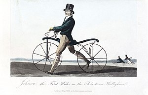 History of the bicycle - Denis Johnson's son riding a velocipede, Lithograph 1819.