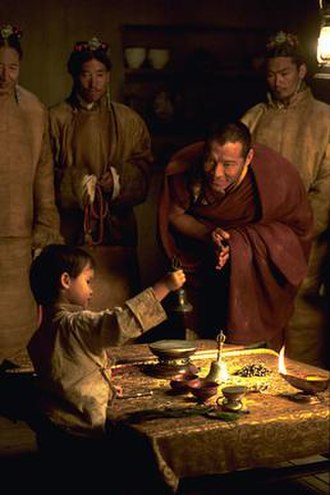 "Kundun - At the beginning of the film the two-year-old boy (Tenzin Yeshi Paichang) is visited at his rural birthplace in Amdo by the searching lamas and undertakes a test to confirm his identity as the ""Bodhisattva""."
