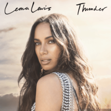 A woman with brown hair with her head turned to the camera. Leona Lewis is written in black font in the top left corner, and Thunder is written in black font in the top right corner.