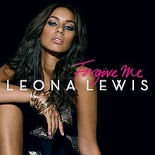"A black-haired woman sitting in front of a black background. She is wearing a short dress and many bracelets on her right wrist. Forward of she there are the words ""Forgive Me"" in pink cursive letters, and below that ""Leona Lewis"" in white capital letters."