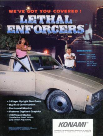 Lethal Enforcers - Flyer for the arcade version of Lethal Enforcers