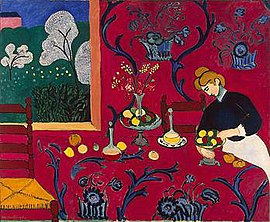 Henri Matisse, The Dessert: Harmony in Red, 1908: note use of red, intense colors of Fauvism.