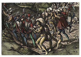 Slavery among Native Americans in the United States - Native Americans enslaved by Spaniards, published in 1596.