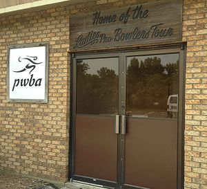 Professional Women's Bowling Association - PWBA and LPBT signs still visible July 2014 at the door of the longtime former home of the organizations, The Cherry Bowl in Rockford, IL.