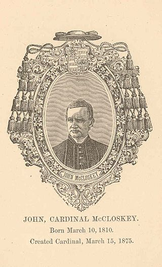 Pius IX elevated John McCloskey as the first American to the College of Cardinals on 15 March 1875. Pio9macloskey.jpg