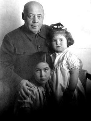 Alexander Poskrebyshev - Alexander Poskrebyshev and two daughters, Natasha (right) and Galya (left), 1940.