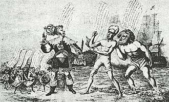 James Akin - 1835  cartoon shows President Jackson challenging French King Louis Philippe, whose crown is falling off; Jackson is advised by king Neptune, and backed up by an American warship. On the left are French politicians, depicted as little frogs, complaining about the Americans.