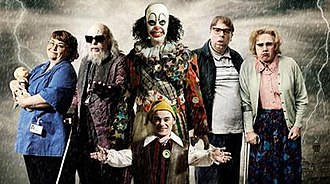 Psychoville - The main characters in the first series of Psychoville (left to right): Joy Aston, Oscar Lomax, Mr Jelly (back), Robert Greenspan (front), David Sowerbutts and Maureen Sowerbutts.
