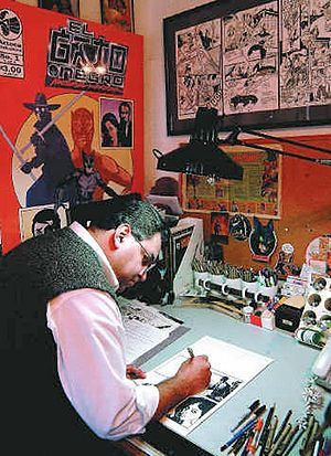 Richard Dominguez - Dominguez inking the latest issue of El Gato Negro: Nocturnal Warrior.