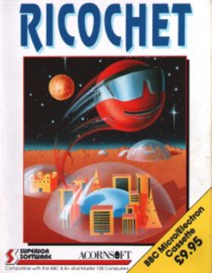 Ricochet (1989 video game) - BBC/Electron cassette cover