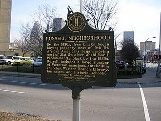 Russell, Louisville - Russell Neighborhood historic marker on Ninth Street