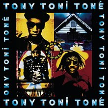 "A group of four pictures is bordered by a black background with the name ""Tony Toni Toné"" written four times in blue. The upper right corner photo of the group of pictures is a black and yellow image of a man in a hat and sunglasses. The upper left corner photo depicts a white house with a dark blue sky and a blue window. The lower left photo contains a red an black image of a man with sunglasses and dreadlocks. The lower right corner photo depicts a man in a black suit and gloves with white circles on them. He is seated in front of a piano that is facing the viewer. In the center of the photo, a circle contains the phrase ""Sons of Soul""."