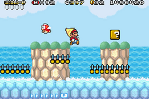 Super Mario Advance 4: Super Mario Bros. 3 - Gameplay of Super Mario Advance 4. In it, Mario is seen with the Cape Feather, an item only obtainable through the use of a special e-Card.