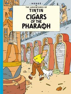 Book cover. Tintin and Snowy are following a trail within an Egyptian tomb.