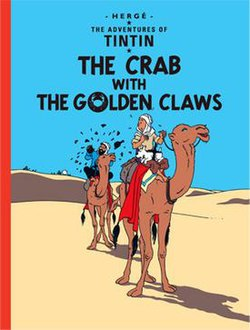 Book cover. Tintin, Snowy, and Captain Haddock ride camels in the desert.