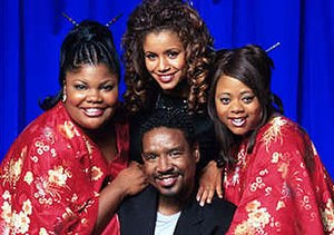 The Parkers - The Parkers main characters of Season 1: (l-r) Nikki Parker, Desiree Littlejohn, Kim Parker and Professor Oglevee (center)