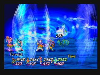 Tales of Eternia - A shot of Meredy (far left) casting Freeze Lancer, with (left to right) Keele, Farah, and Reid.