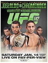 A poster or logo for UFC 142: Aldo vs. Mendes.