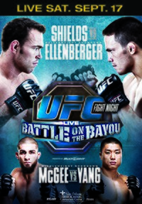 A poster or logo for UFC Fight Night: Shields vs. Ellenberger.