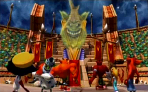Crash Nitro Kart - Crash Nitro Kart is the first game in the Crash Bandicoot series to feature full-motion video cinematics. In this cutscene, the main antagonist of the game, Emperor Velo XXVII, talks down on, from left to right, Doctor Neo Cortex, Doctor N. Gin, Tiny Tiger, Crunch Bandicoot, Coco Bandicoot and Crash Bandicoot.