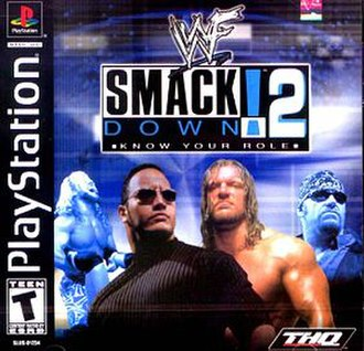 WWF SmackDown! 2: Know Your Role - North American Cover art featuring Chris Jericho, The Rock, Triple H, and The Undertaker