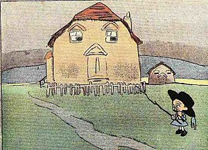 The Kin-der-Kids - Wee Willie Winkie in his first appearance, encountering an anthropomorphic house.