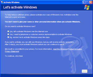 Microsoft Product Activation - Image: Windows XP Activation Wizard