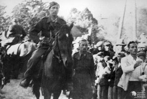 Armia Krajowa 26th Infantry Regiment en route to Warsaw from the Kielce-Radom area, marching in an attempt to join the Warsaw Uprising during Operation Tempest