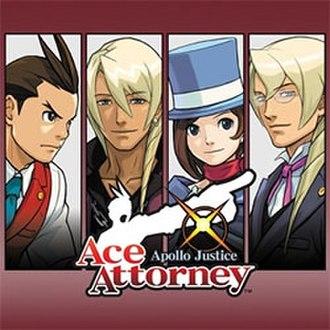 Apollo Justice: Ace Attorney - North American Nintendo DS cover art, featuring (left to right) Apollo, Klavier, Trucy, and Kristoph