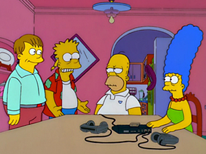 Bart to the Future - From left to right: Ralph, Bart, Homer and Marge in the future. The original designs of future Bart were different compared to the one that is used in the episode and seen here.