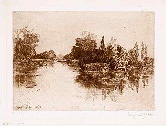 Thames Ditton Island - Boyle Farm Island by Francis Seymour Haden (1869)