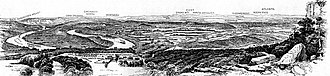Chattanooga Campaign - Engraving of the view north from Point Lookout on Lookout Mountain over the Chattanooga region, from Battles and Leaders, 1885