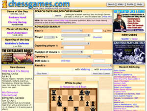 Chessgames.com - Screenshot of Chessgames.com main page