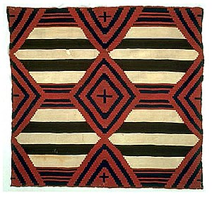 Navajo weaving - Historic third phase Chief's blanket, circa 1870-1880